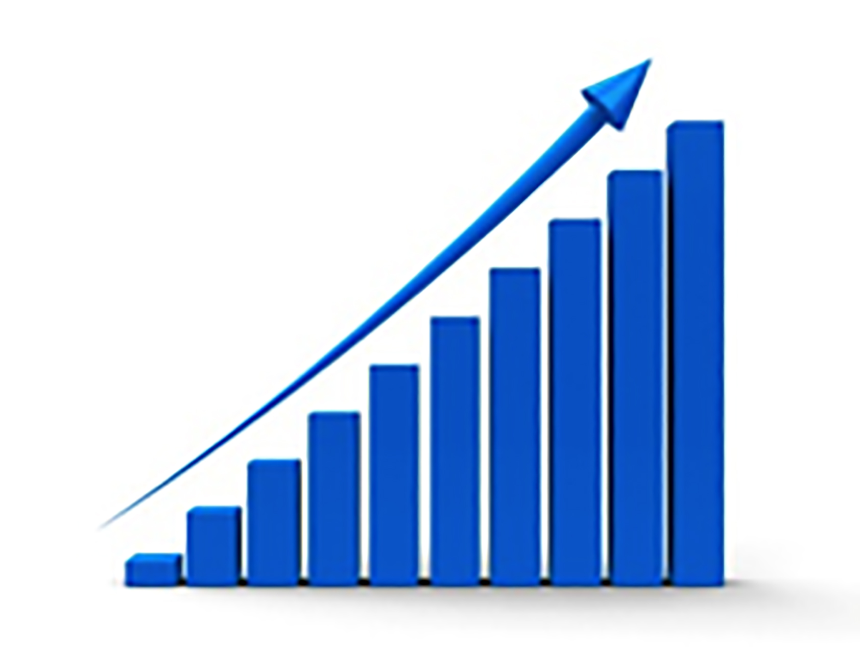 bar graph with arrow to show increased sales and revenue from ads
