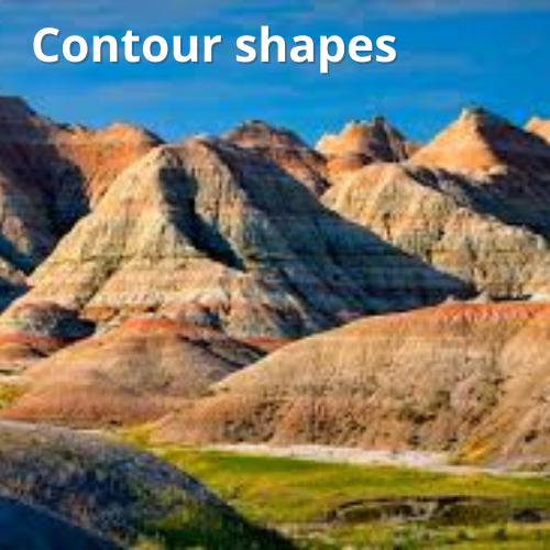 Contour shapes in a mountain range as an example of a biological salient object