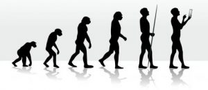 primitive humans evolving to the digital age from ape to present day